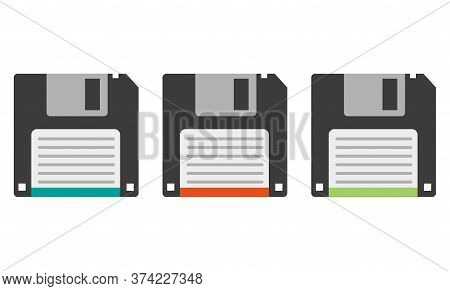 Three Vector Floppy Disks On A White Background