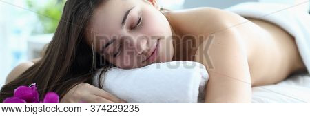 Girl Closed Her Eyes, Relaxing After Massage Salon. Support Vitality Body And Strengthen Immune Syst