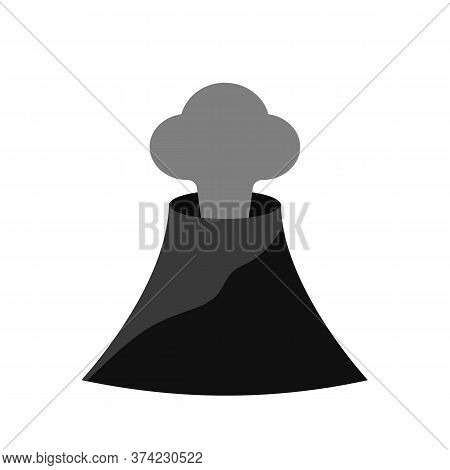 Volcano Icon. Volcano Eruption Vector With Ash Cloud.