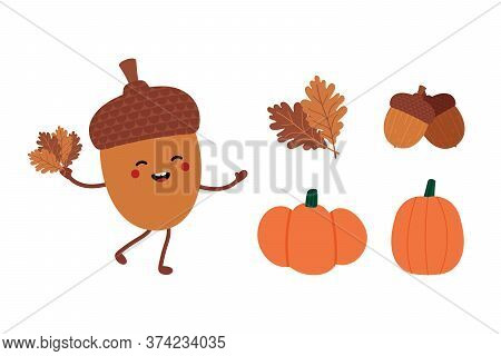 Set, Collection Of Autumn, Fall Icons And Illustration. Cute Smiling Acorn Cartoon Character, Pumpki