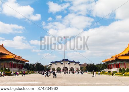 Taipei,taiwan-january 2018: Wide Angle View Of Chiang Kai-shek Memorial Hall Entrance Gate With A Lo