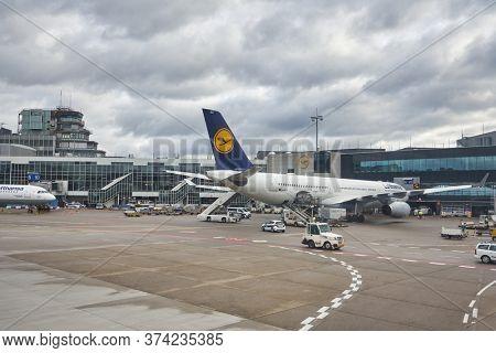 FRANKFURT AM MAIN, GERMANY - CIRCA JANUARY, 2020: Airbus A330 operated by Lufthansa as seen at Frankfurt am Main Airport apron.