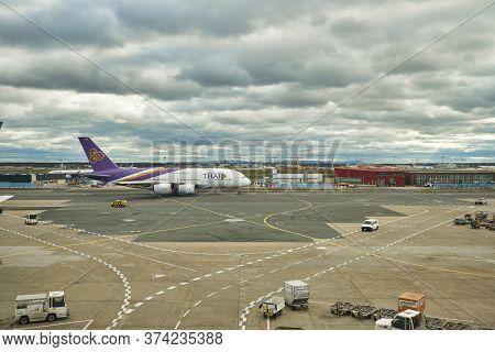 FRANKFURT AM MAIN, GERMANY - CIRCA JANUARY, 2020: Airbus A380 operated by Thai Airways taxing at Frankfurt am Main Airport.