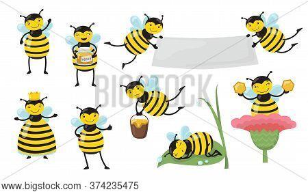 Funny Cartoon Bee In Different Actions Set. Yellow Honeybee Flying, Waving Hello, Producing Honey, S