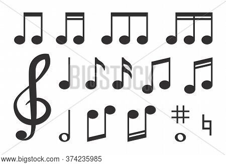 Various Musical Melody Black Note Icons Set. Graphic Treble Clef, Quavers, Semiquavers Vector Illust