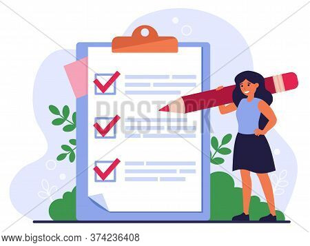 Checklist Or Survey Concept. Woman With Pencil Writing Down Task List, Filling Out Survey Or Applica