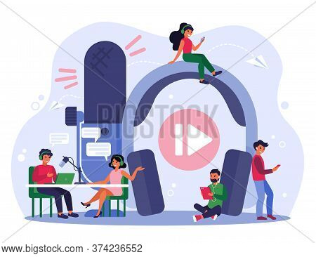 Radio Broadcasting Concept. Happy Radio Host With Microphone Interviewing Celebrity Woman In Studio.