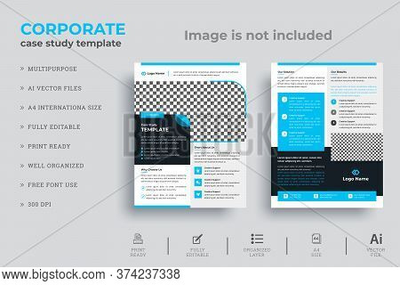 Corporate Case Study Template | Double Sided Flyer Template | Business Case Study Booklet Layout Vec