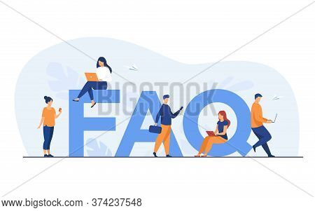 Tiny People Sitting And Standing Near Giant Faq Isolated Flat Vector Illustration. Cartoon Users Ask