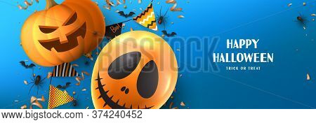Happy Halloween Sale Banner Template. Holiday Promo Banner With Spooky Balloon, Black Spiders And Ba