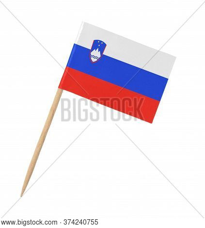 Small Paper Slovenian Flag On Wooden Stick