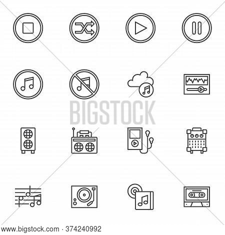 Music, Sound Line Icons Set, Outline Vector Symbol Collection, Linear Style Pictogram Pack. Signs, L