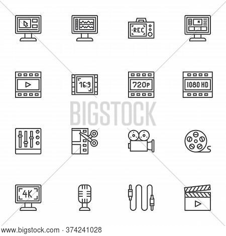 Video Production Line Icons Set, Video Content Outline Vector Symbol Collection, Linear Style Pictog