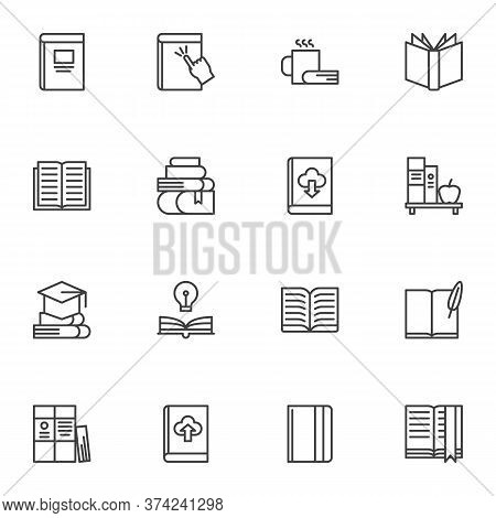 Books Line Icons Set, Outline Vector Symbol Collection, Linear Style Pictogram Pack. Signs, Logo Ill