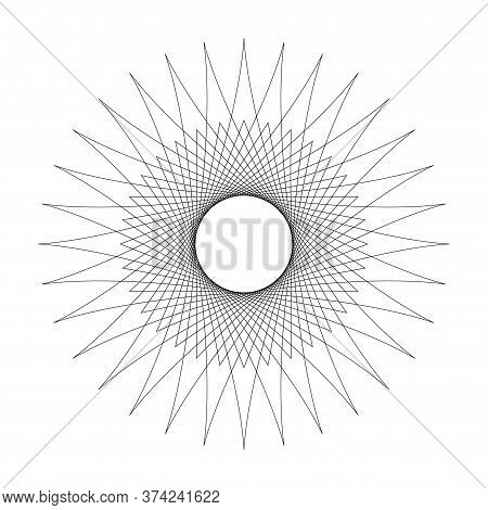 Line Star Shape Swirl Isolated On White, Radius Art Lines Star Swirl And Cycle Wave, Optical Line Wa