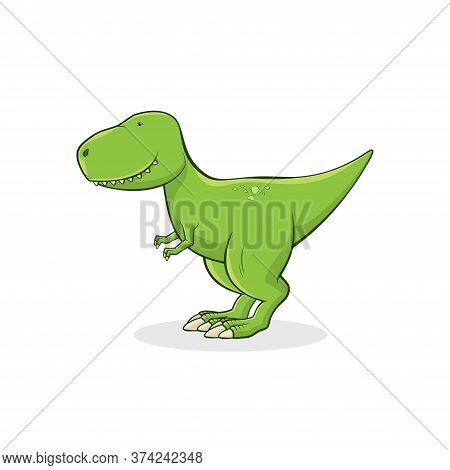 Cute Tyrannosaurus Rex Isolated On White Background. Funny Dinosaur T-rex Stands On White Background