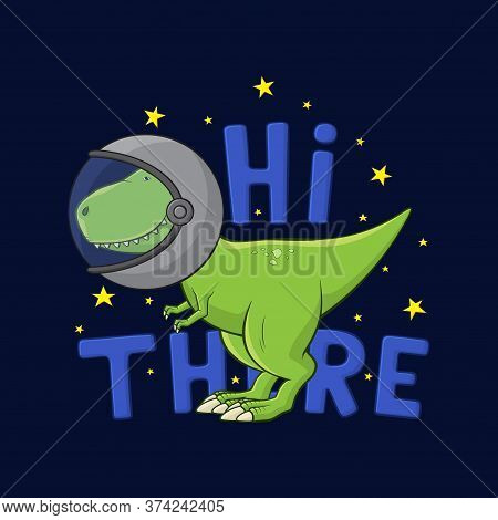 Cartoon Tyrannosaurus Rex In Spacesuit. Cute Dinosaur T-rex In Spacesuit Stands On Dark Blue Backgro