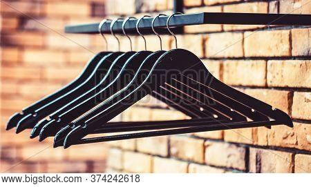 Wooden Coat Hanger Clothes. Fashionable Different Types Of Hanger. Wood Hangers Coat. Many Wooden Bl