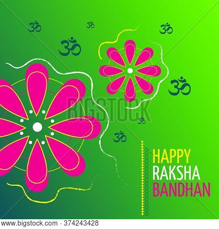 Raksha Bandhan Indian Holiday Of The Brother And Sister Poster. Vector Illustration.