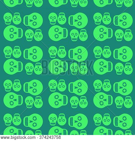Day Of The Dead Skulls Seamless Pattern Background. Vector Illustration.