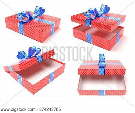 Red Gift Box With Blue Ribbon Bow. Set. 3d Render Illustration Isolated On White Background