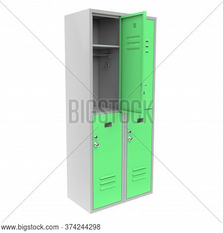 Green Metal Locker With Open Door. Two Level Compartment. 3d Rendering Illustration Isolated On Whit