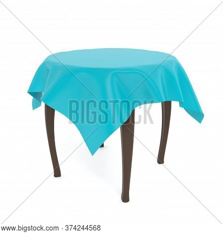 Wooden Brown Round Table With Blue Tablecloth. 3d Rendering Illustration Isolated On White Backgroun