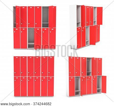 Red Lockers For Schoool Or Gym. Set Of Closed And Open Sections. 3d Rendering Illustration Isolated