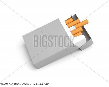 White Pack Of Cigarettes. 3d Rendering Illustration Isolated On White Background