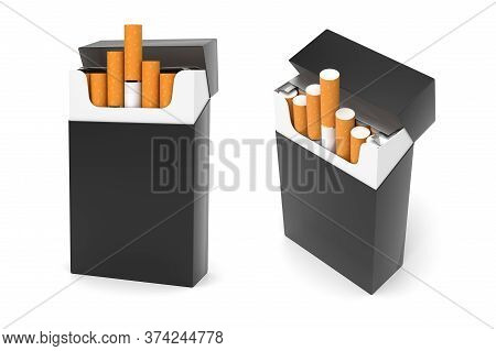Black Packs Of Cigarettes. 3d Rendering Illustration Isolated On White Background