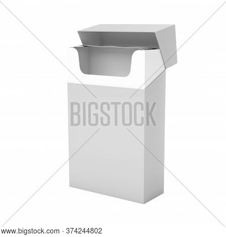 White Empty Pack Of Cigarettes. 3d Rendering Illustration Isolated On White Background