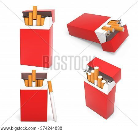 Red Blank Packs Of Cigarettes. With Brown Filter. 3d Rendering Illustration Isolated On White Backgr