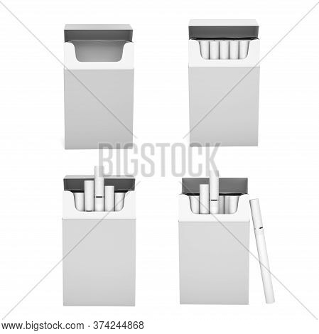 White Blank Packs Of Cigarettes. With White Filter. 3d Rendering Illustration Isolated On White Back