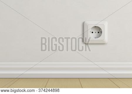 Electric Socket On Beige Wall. 3d Rendering Illustration.