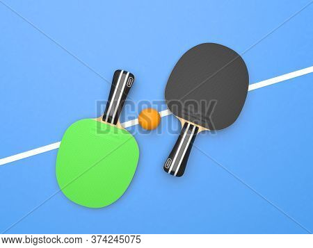 Green And Black Table Tennis Rackets With Ball. On Blue Background. Top View. 3d Rendering Illustrat