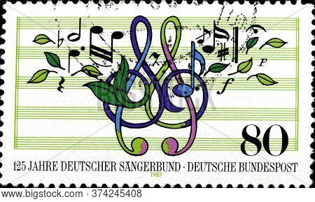 02 10 2020 Divnoe Stavropol Krai Russia Postage Stamp Germany 1987 The 125th Anniversary Of The Chor