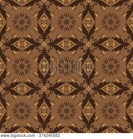 The Beauty Flower Pattern On Indonesian Batik Design With Seamless Dark Brown Color