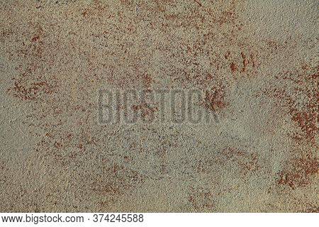 Beige Faded Surface And Texture, Background. Old, Shabby Wall With Peeling Paint. Natural Dirty Pain