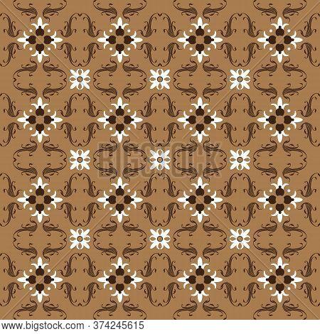 Elegance Flower Motifs On Javanese Batik Design With Mocca Color