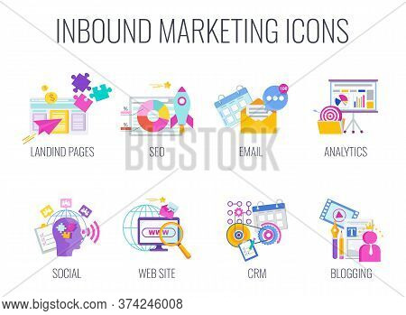 Inbound Marketing Icons Set. Digital Marketing. Content Management Strategy. Lead Generation. Magnet