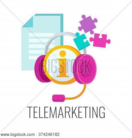 Telemarketing Icon. Cold Calling. Call Center Operator In Headphones With List Of Potential Customer