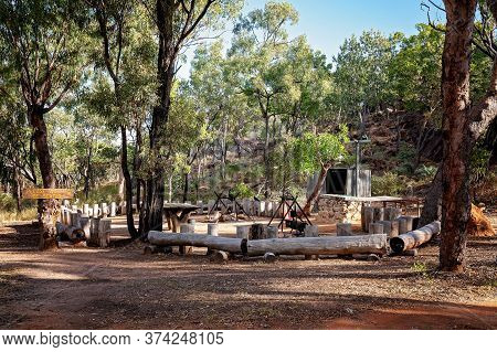 The Setting For A Guests Bush Breakfast At An Australian Bush Tourist Resort In A Volcanic National