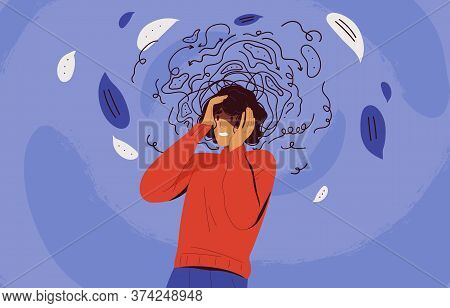 Frustrated Woman With Nervous Problem Feel Anxiety And Confusion Of Thoughts Vector Flat Illustratio