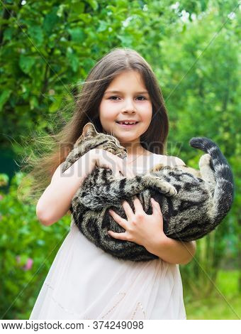 Small Girl Hold Cute Cat In Hands. Kid Love Her Pet. Human And Animals. Love And Care. Fluffy Cat In