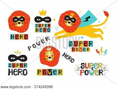 Lion Super Hero In A Black Mask And Cape. Leo Face In A Crown. Hand Drawn Vector Illustration With T