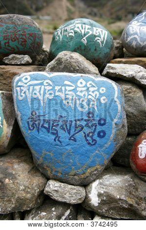 Tibetan mani prayer stones annapurna in nepal poster