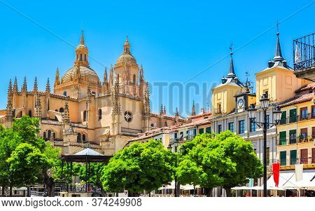 Segovia Old Town Cityscape And Segovia Cathedral, Spain