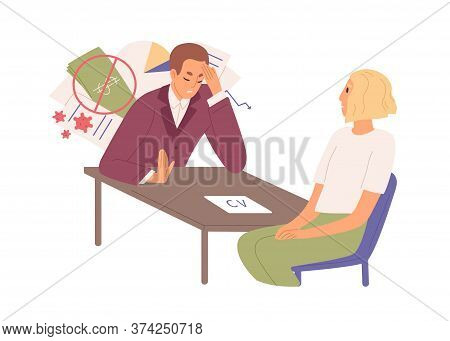 Male Employer Failure Of Work To Female During Global Crisis Vector Flat Illustration. Hopeless Woma