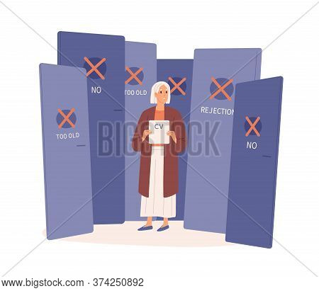 Elderly Woman With Rejected Cv By Employer Vector Flat Illustration. Aged Female Surrounded By Close