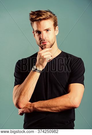 Expensive Luxury Accessory. Confident Macho Luxurious Watch Blue Background. Watches Are Convenient.